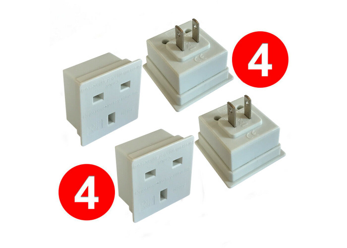 [4 PACK] UK to America Canada Brazil Mexico Jamaica Thailand Travel Plug Adapter - 2
