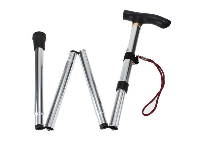 4 Sections Rubber Ferrule Aluminium Walking Stick for Outdoor Sports - 2