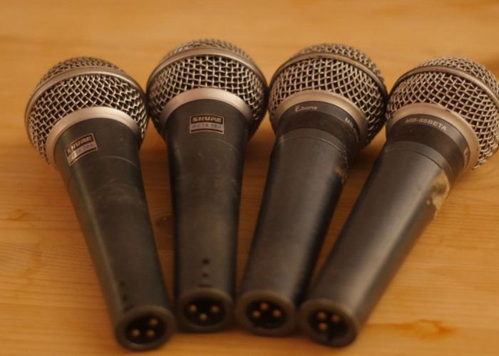 4 x  Dynamic Supercardioid Microphones/Beta 58A Clones + XLR - 1