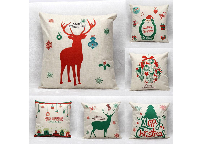 45X45cm Christmas Tree Red Deer Gift Fashion Cotton Linen Pillow Case Santa Claus Home Decor - 1