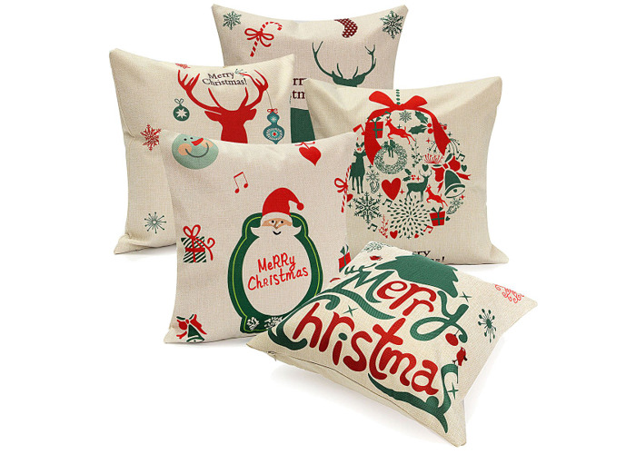 45X45cm Christmas Tree Red Deer Gift Fashion Cotton Linen Pillow Case Santa Claus Home Decor - 2