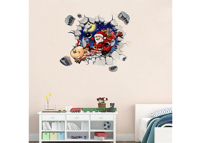 45x60CM 3D Wall Sticker Christmas Santa Claus Adhesive Sticker Bedroom Home Decor - 2