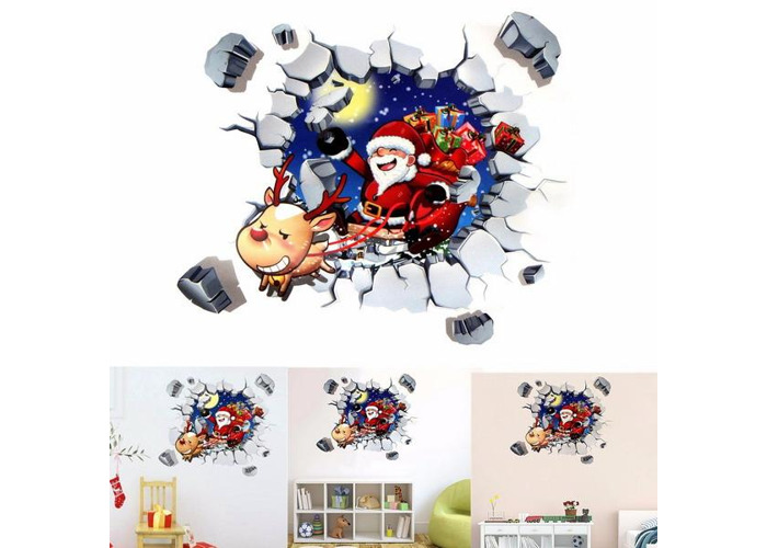 45x60CM 3D Wall Sticker Christmas Santa Claus Adhesive Sticker Bedroom Home Decor - 1
