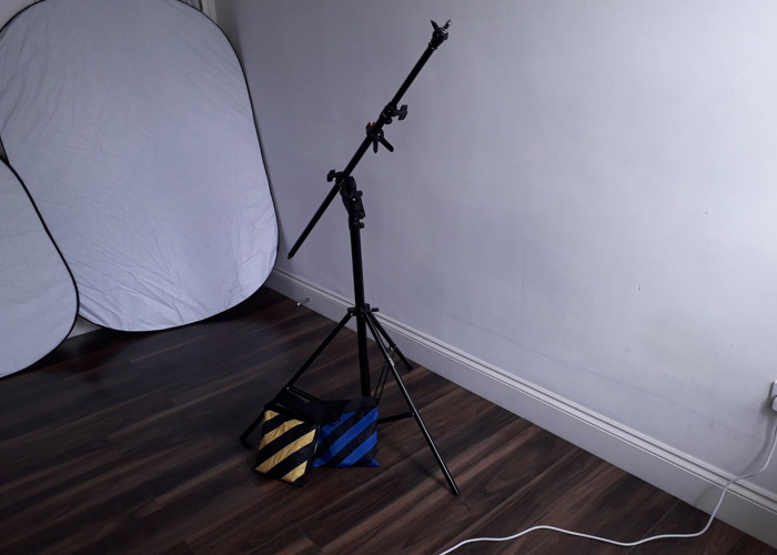4m Heavy Duty Photo Studio 2in1 Boom Arm LightStand+ 2x bags - 1