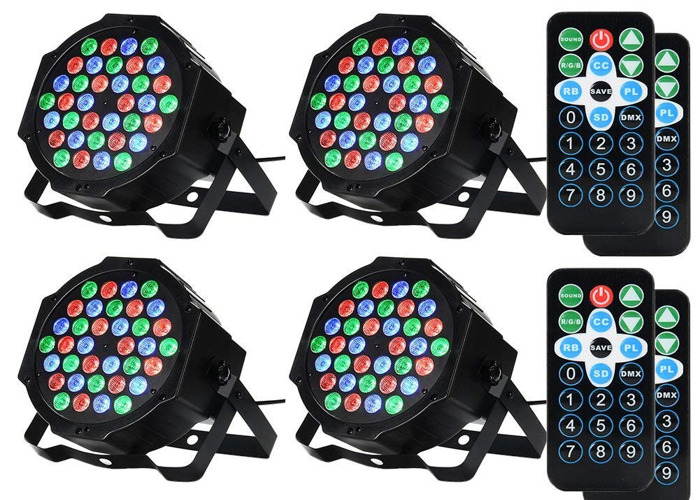 4x LED Party Strobe Lights with Remote Control - 1