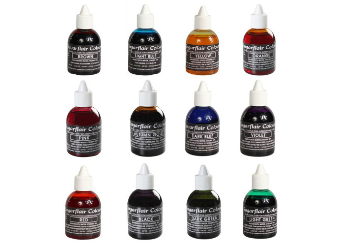 5 x Sugarflair Edible Airbrush Food Colour Liquid For Cake Sugarcraft Decorating - 1
