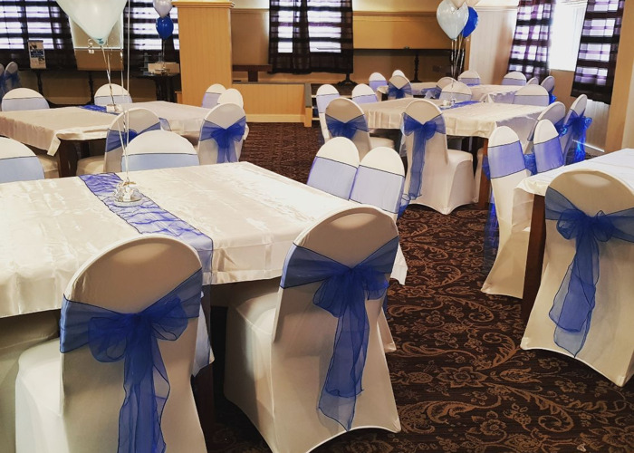 50 Chair Covers and Royal Blue Sashes  - 1
