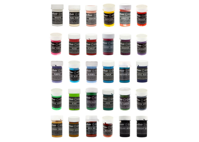 50 x Sugarflair Edible PASTEL Paste Concentrated Food Colour for Cup Cake Icing - 1