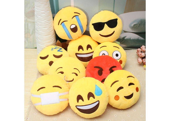 5.9'' 15cm Emoji Smiley Emoticon Stuffed Plush Soft Toy Round Cushion Ornament Decor Gift - 2