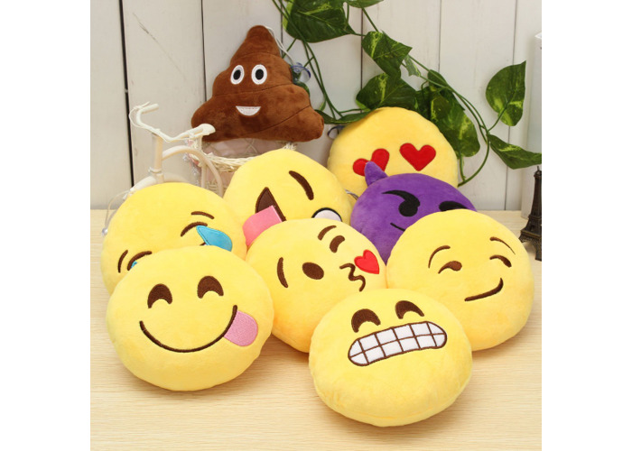 5.9'' 15cm Emoji Smiley Emoticon Stuffed Plush Soft Toy Round Cushion Ornament Decor Gift - 1