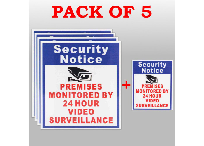 5X Premises Protected By 24 Hour Video Surveillance Sign Sticker Security Camera - 1