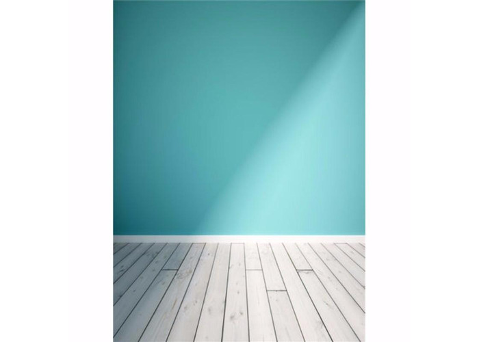 5x7FT Blue Wall Wood Floor Vinyl Photography Backdrop Photo Background Props - 1