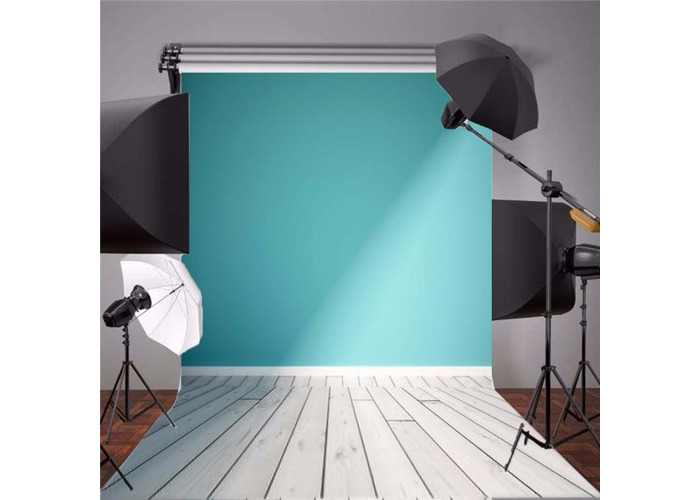 5x7FT Blue Wall Wood Floor Vinyl Photography Backdrop Photo Background Props - 2