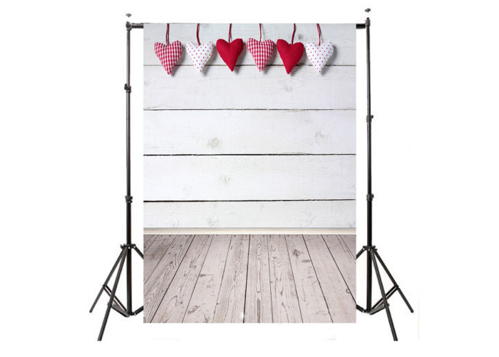 5x7FT Vinyl Valentine's Day Heart Wood Floor Photography Backdrop Background Studio Prop - 1