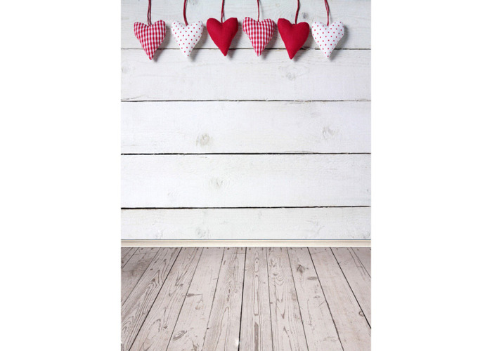 5x7FT Vinyl Valentine's Day Heart Wood Floor Photography Backdrop Background Studio Prop - 2