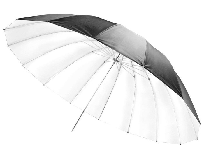 "60"" 152cm Black & White Parabolic Umbrella - 1"