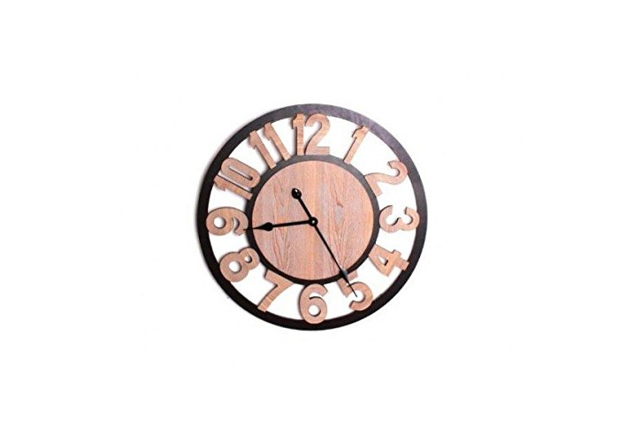 60CM WOODEN CUT OUT WALL CLOCK NUMBERS HOME KITCHEN OFFICE - 1
