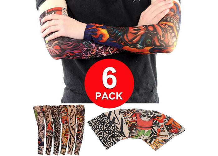 6-Pack Elastic Fake Temporary Full Arm Tribal Tattoo Sleeve Skin for Mens Women - 2