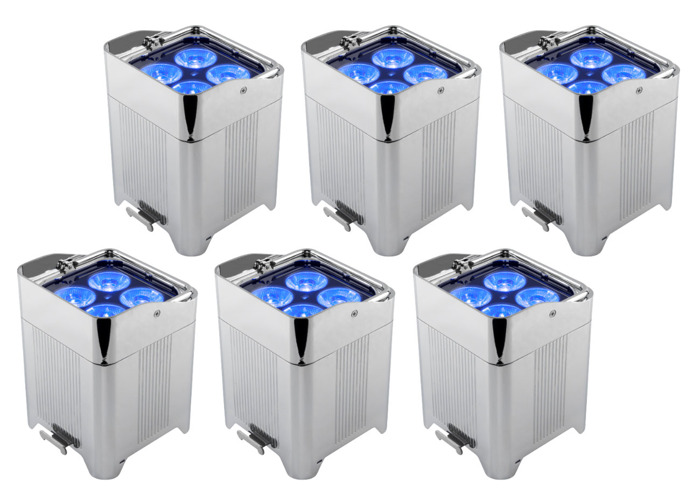 6x Chrome battery Uplighters - 1