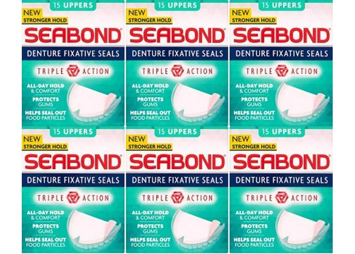 6x SeaBond Gum Denture Fixative Seals 15 Sea Bond Original UPPERS - LOWER - 1