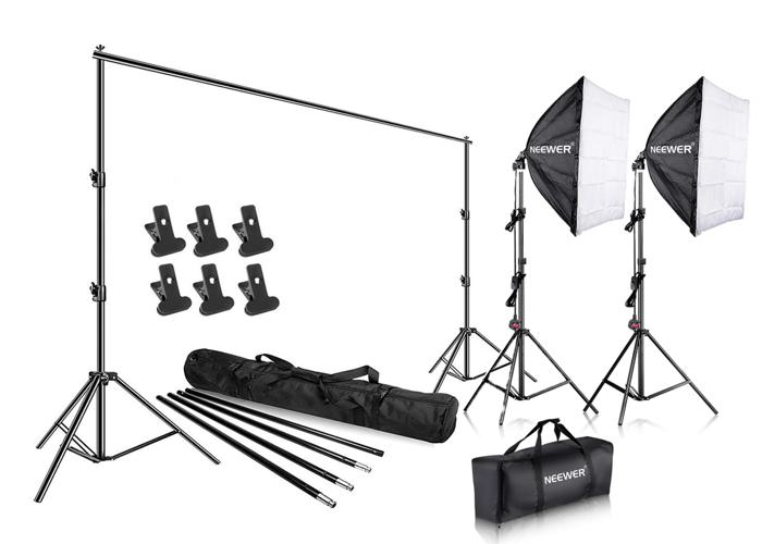 700W Studio Continuous Lighting & 3x6m Large White Backdrop - 1