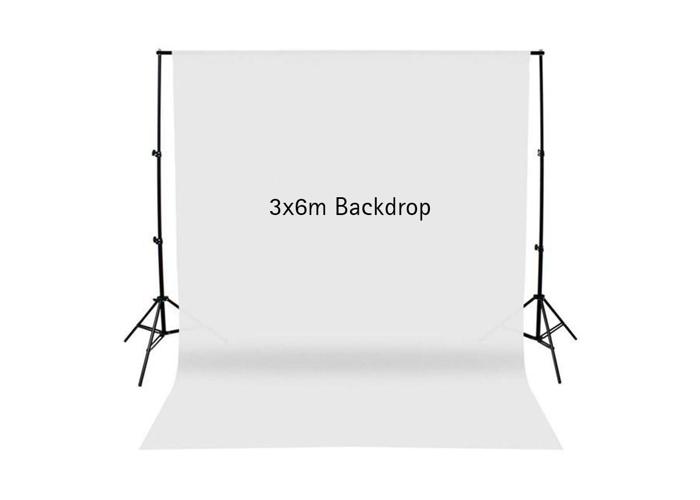 700W Studio Continuous Lighting & 3x6m Large White Backdrop - 2