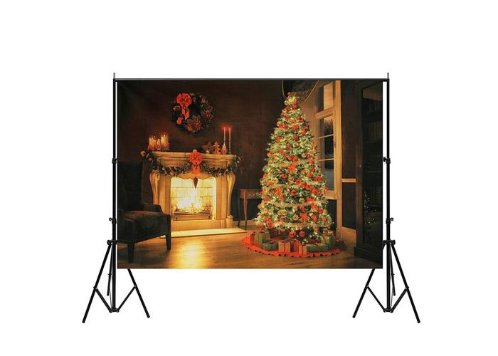 7x5ft Christmas Tree Fireplace Vinyl Photography Backdrops Studio Props Photo Background - 1