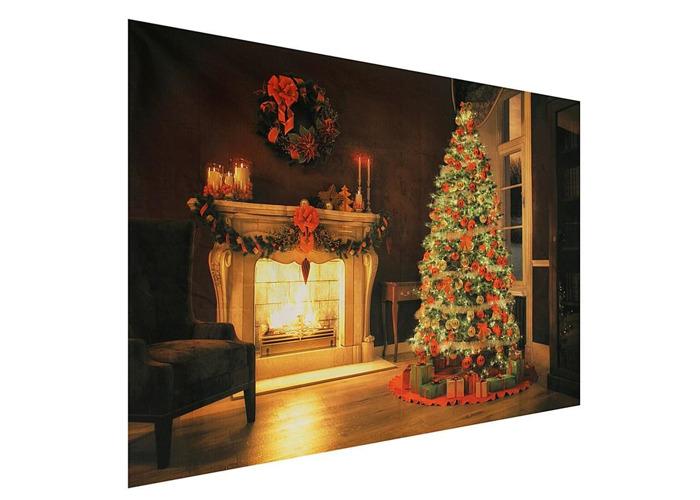 7x5ft Christmas Tree Fireplace Vinyl Photography Backdrops Studio Props Photo Background - 2