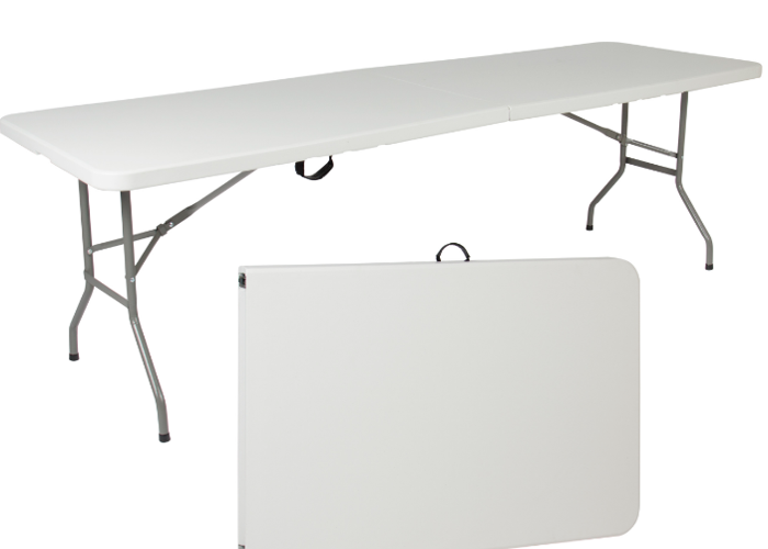 8ft Folding table with fitted Black Linen - 1
