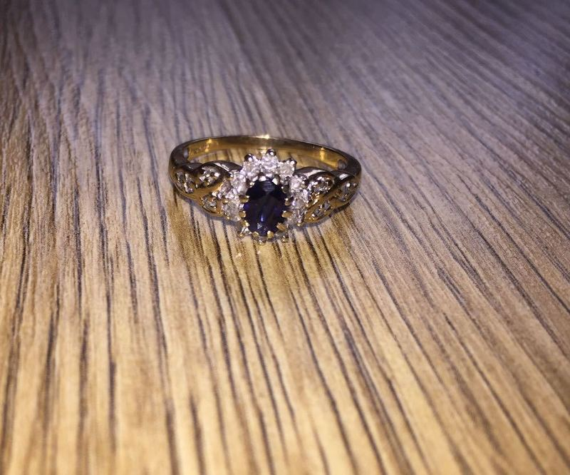 9 Carat Gold with Blue Sapphire and 20 Point Diamonds Size P - 1