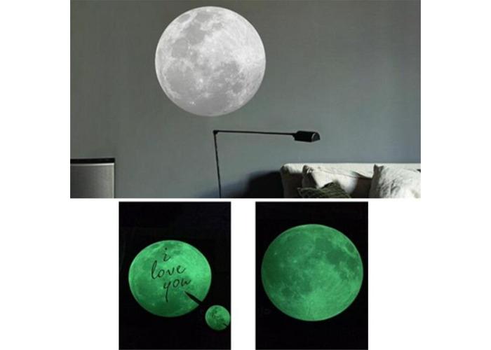 9CM luminescent fluorescent lights Moon Shape Wall Stickers Home Decoration - 2
