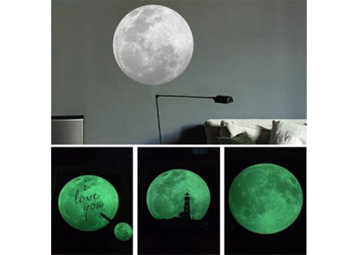 9CM luminescent fluorescent lights Moon Shape Wall Stickers Home Decoration - 1