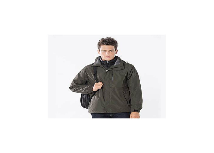 A waterproof and windproof jacket in light grey from Uniqlo - 1