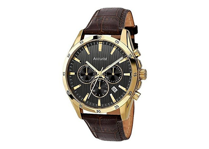 Accurist Men's Chronograph Brown Leather Watch (224795366) - 1