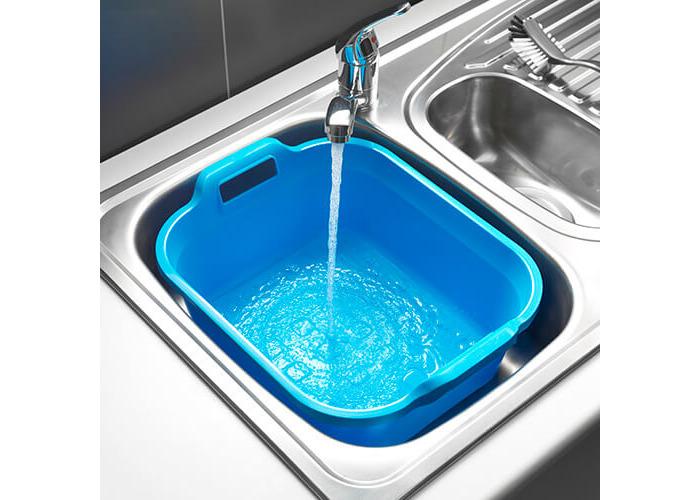 Addis Large Rectangular 9.5 Litre Washing Up Bowl with Handles, Blue, 39 x 32 x 14 cm - 2