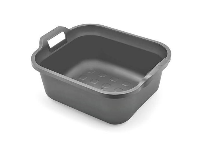 Addis Large Rectangular 9.5 Litre Washing Up Bowl with Handles, Metallic Silver, 39 x 32 x 14 cm - 1