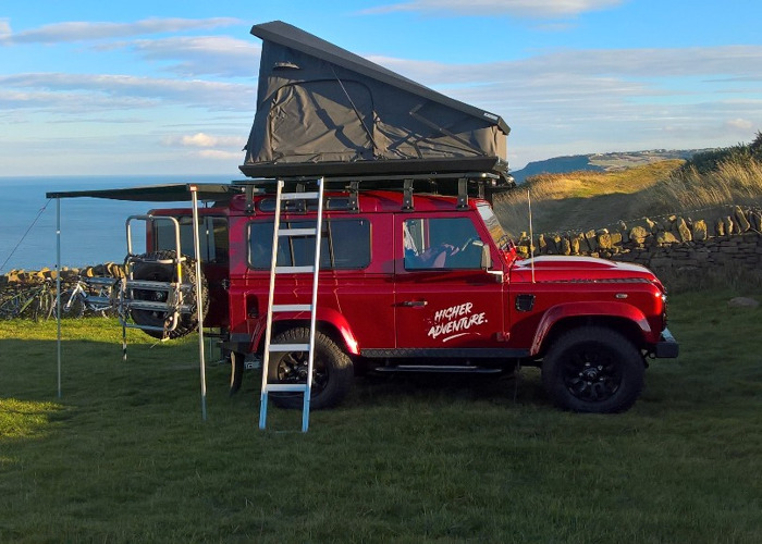 Rent Adventure Ready Land Rover Defender 90 with roof tent