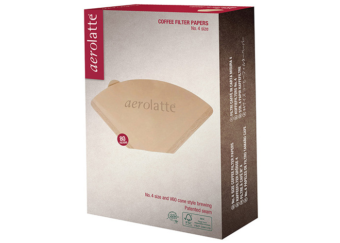 aerolatte Coffee Filter Papers, No. 4 Size, Pack of 80 - 1