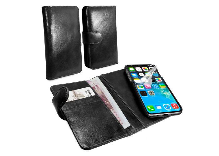 Alston Craig Slim Wallet Case for Apple iPhone X Vintage Leather Black - 1