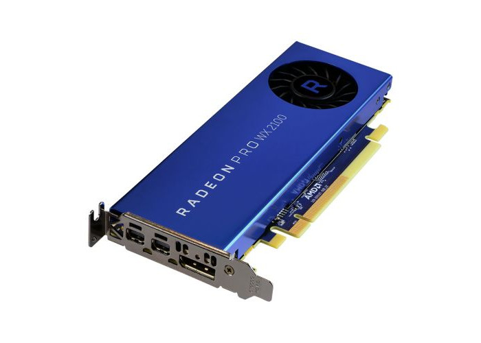 AMD Radeon Pro WX 2100 Professional Graphics Card, 2GB DDR5, DP, 2 miniDP (mDP to DVI Adapter), 1219MHz Clock, Low Profile (Bracket Included) - 1