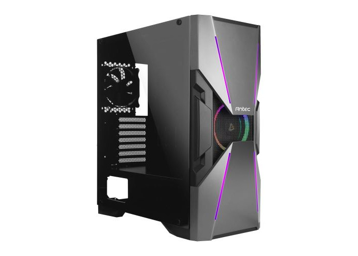 Antec DA601 Dark Avenger Gaming Case with Window, E-ATX, No PSU, Tempered Glass, ARGB Front Strips & Fan - 1
