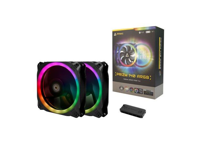 Antec Prizm 140 ARGB PWM RGB Kit, 2 x 14cm Case Fans + Controller - 1
