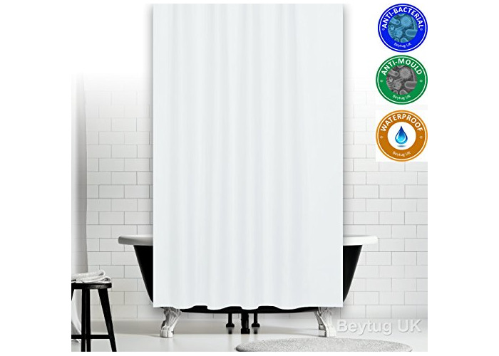 """Antibacterial White Fabric Shower Curtain Extra Long and Wide - 200 x 200CM (78"""" x 78"""") - 1"""