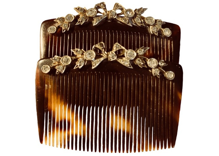 Antique Small Pair Bow Clear Crystal Tortoiseshell Hair Combs Free UK Delivery - 1