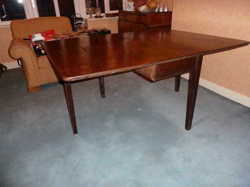 DROP LEAF OAK DINING TABLE - 1