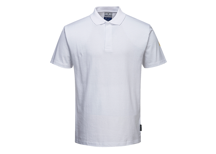 Antistatic ESD Polo Shirt  White  XXL  R - 1