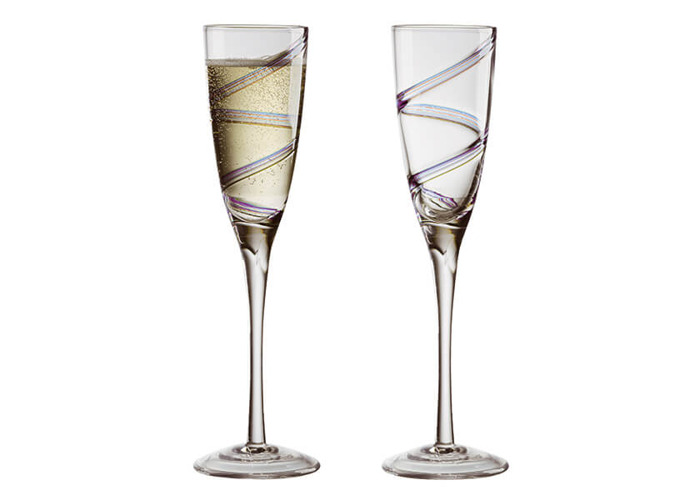 Anton Studios Set of 2 Arc Champagne Flutes - 1