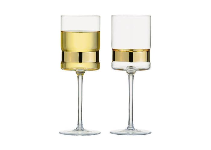 Anton Studios Set of 2 SoHo Wine Glasses Gold - 1