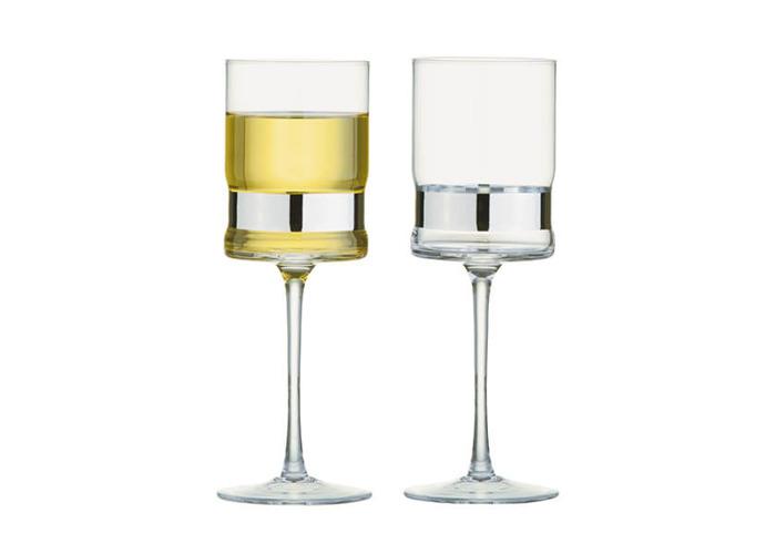 Anton Studios Set of 2 SoHo Wine Glasses Silver - 1