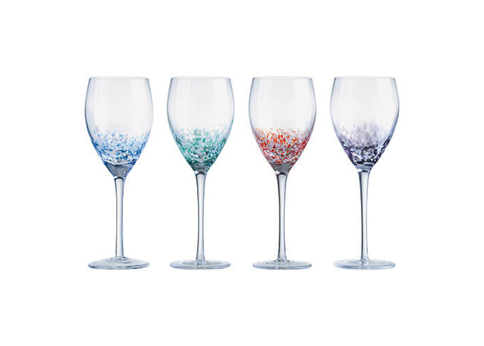 Anton Studios Set Of 4 Speckle Wine Glasses - 1